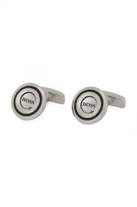 Round cufflinks with airplane motif, Black