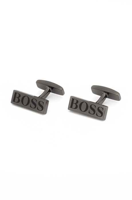 Rectangular cufflinks with contrast logo, Dark Grey