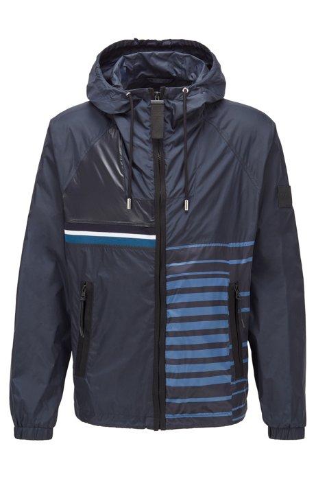 Packable hooded jacket in water-repellent mixed fabrics, Dark Blue