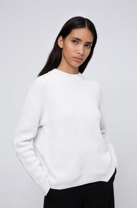 Relaxed-fit sweater in cotton with back-neck intarsia, Natural