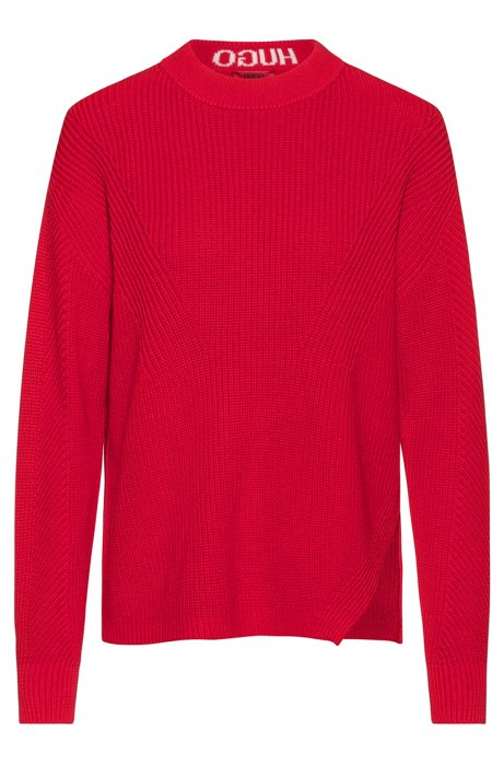 Relaxed-fit sweater in cotton with back-neck intarsia, Open Pink