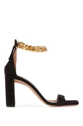 High-heeled sandals in suede with chain ankle strap, Black