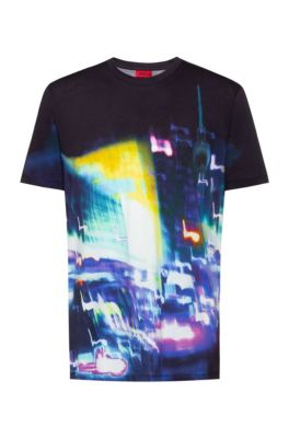 Regular-fit T-shirt in cotton with urban graphic, Black