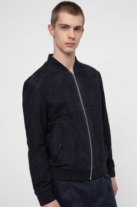 Slim-fit bomber jacket in goat suede, Dark Blue