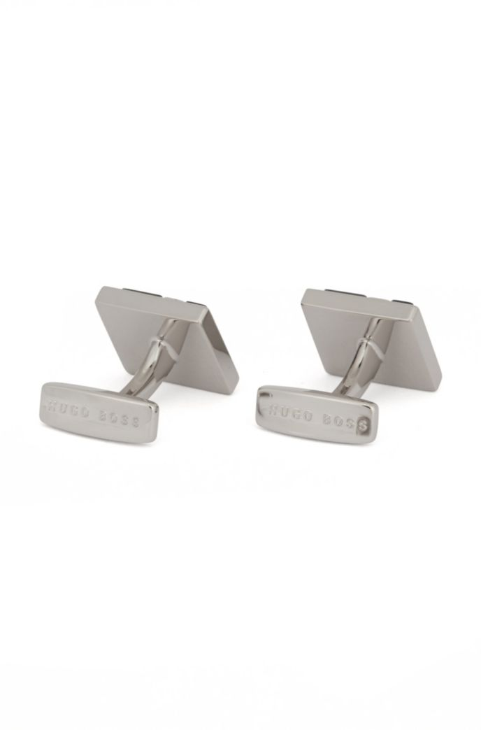 Square cufflinks with enamel and metal geometric pattern
