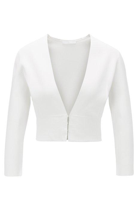 Slim-fit jacket with V neckline and hook closures, Natural