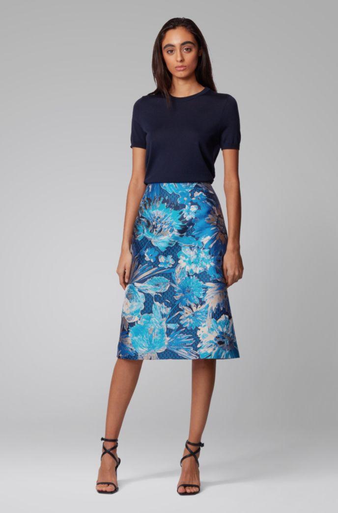 Midi-length A-line skirt in Italian floral jacquard