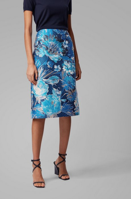 Midi-length A-line skirt in Italian floral jacquard, Patterned