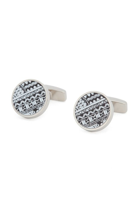 Round cufflinks in polished brass with patterned core, Silver