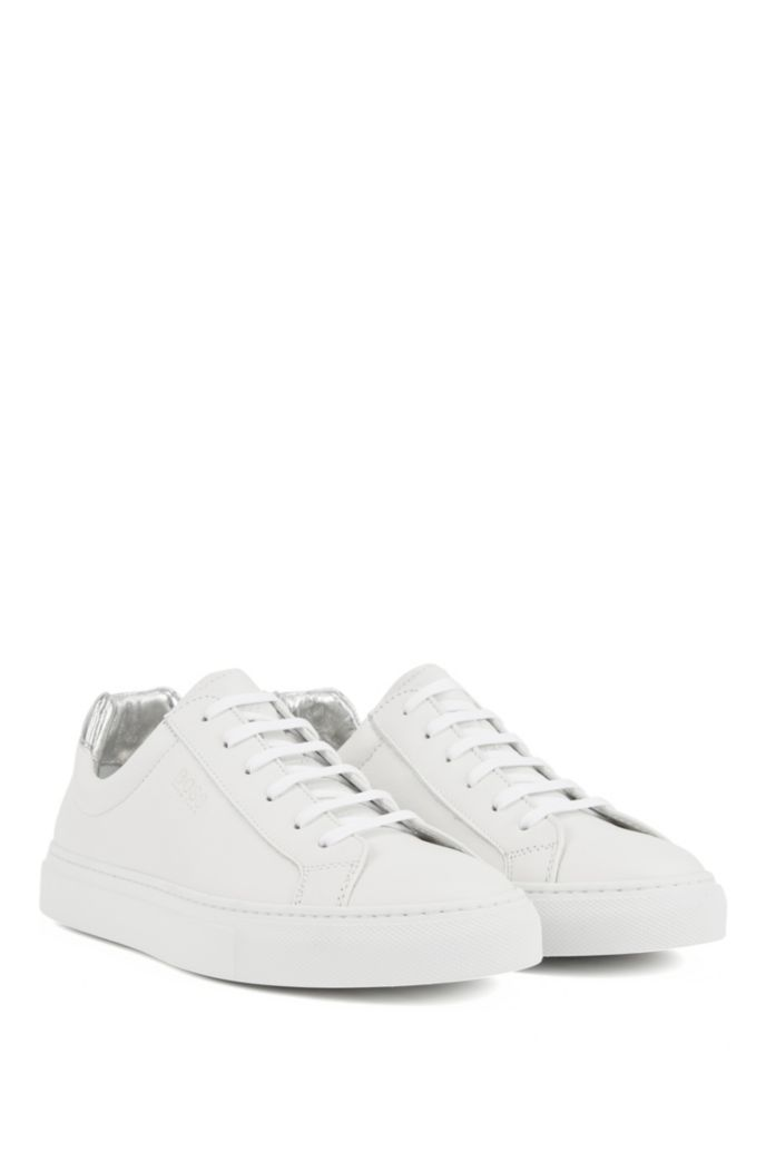 Low-top sneakers in Italian leather with logo