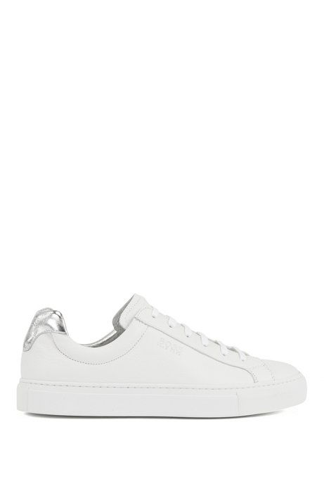Low-top trainers in Italian leather with logo, White