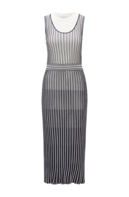 Sleeveless knitted dress with detachable underlayer, Patterned