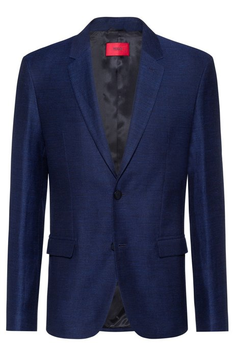 Slim-fit jacket in wool and linen, Dark Blue