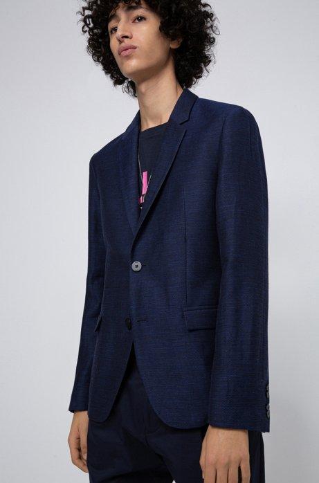 Slim-fit jacket in wool and linen, Dark Blue