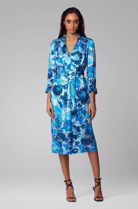 Monogram shirt dress in pure silk with floral print, Patterned