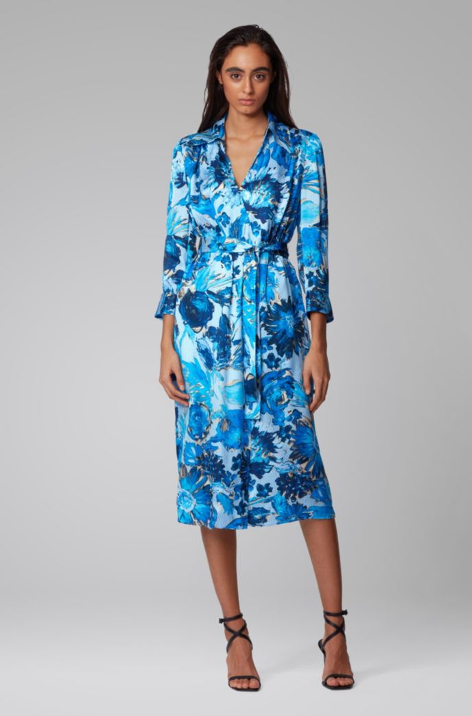 Monogram shirt dress in pure silk with floral print