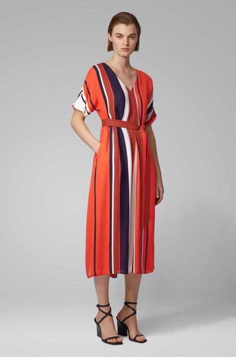 Belted dress with block stripes in Italian crepe, Patterned