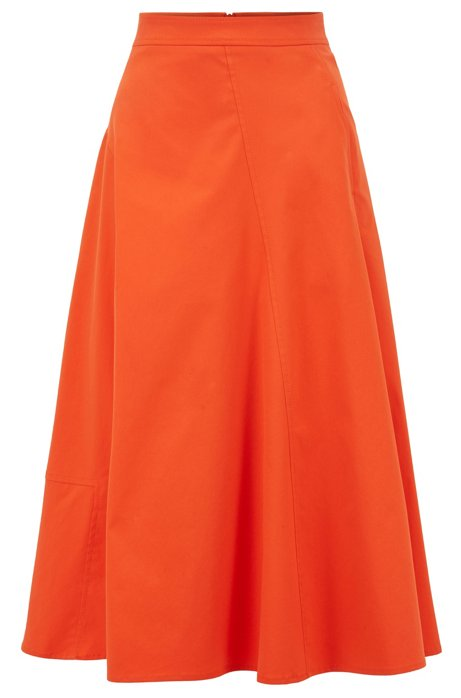 A-line midi skirt in cotton-blend twill, Orange