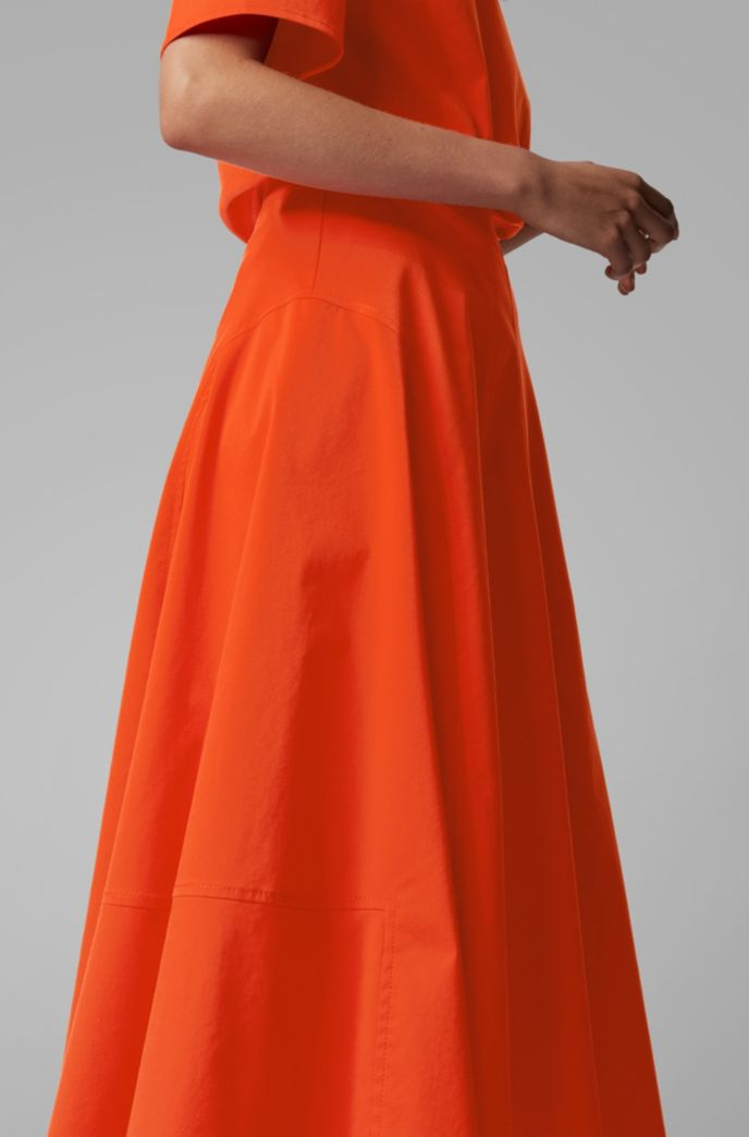 A-line midi skirt in cotton-blend twill