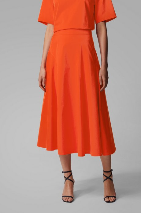 A-line midi skirt in cotton-blend twill, Orange