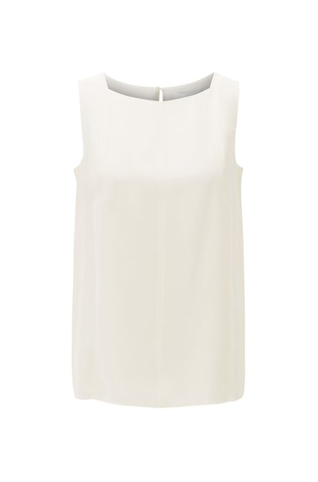 Sleeveless top in silk crepe with pintuck detailing, Natural