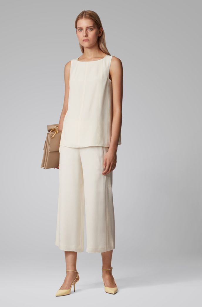 Sleeveless top in silk crepe with pintuck detailing