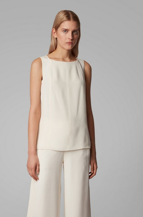Sleeveless top in silk crepe with pintuck detailing, White