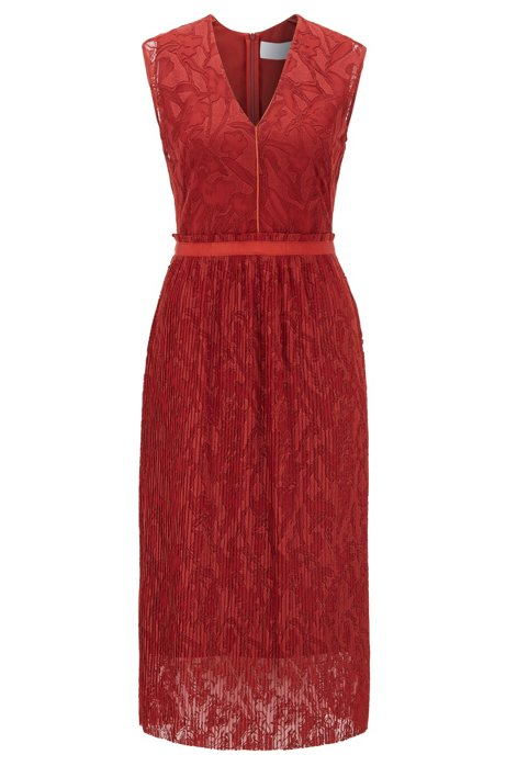 Embroidered lace dress with plissé skirt part, Patterned
