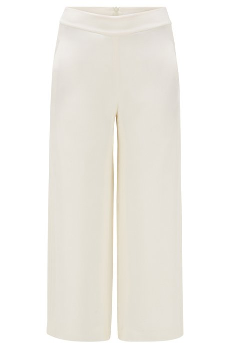 Relaxed-fit pants in silk crepe with pintuck stripes, Natural