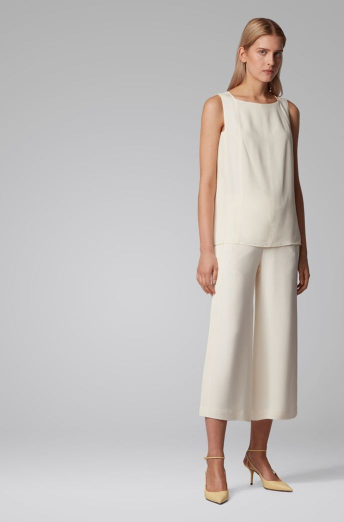 Relaxed-fit pants in silk crepe with pintuck stripes