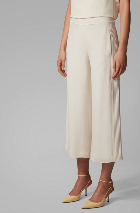 Relaxed-fit pants in silk crepe with pintuck stripes, White