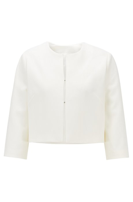 Regular-fit jacket in double-faced stretch fabric, Natural