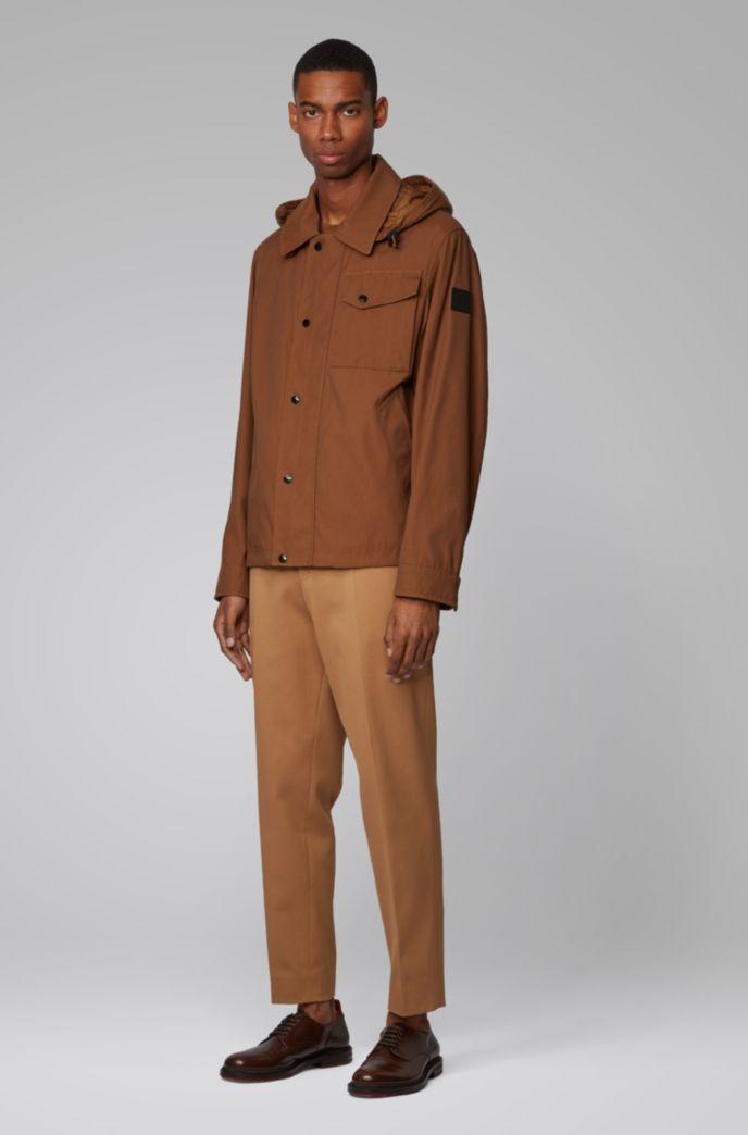 Water-repellent jacket with detachable hood