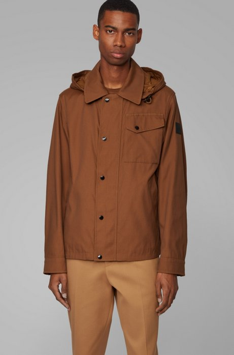 Water-repellent jacket with detachable hood, Dark Brown