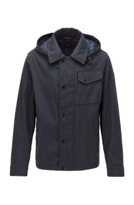 Water-repellent jacket with detachable hood, Dark Blue
