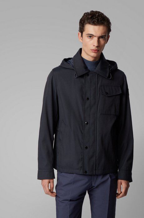 Water-repellent jacket with detachable hood, Dark Blue