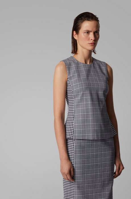 Mixed-check sleeveless top in a stretch-cotton blend, Patterned