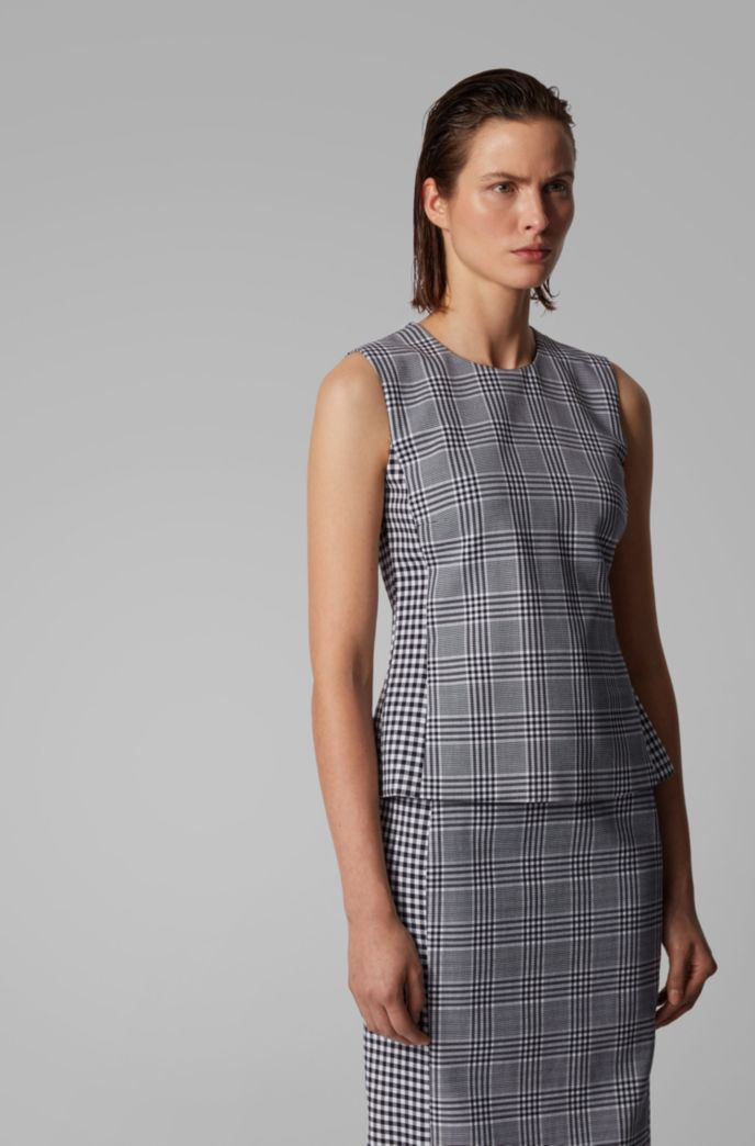 Mixed-check sleeveless top in a stretch-cotton blend