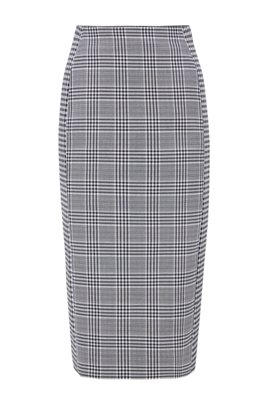 Mixed-check pencil skirt in a stretch-cotton blend, Patterned