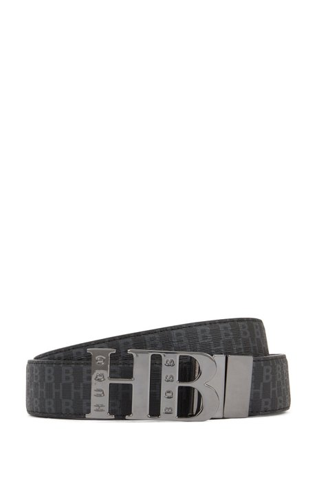 Italian-made reversible belt with monogram buckle, Black