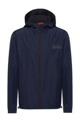 Slim-fit jacket in recycled fabric with reversed logo, Dark Blue