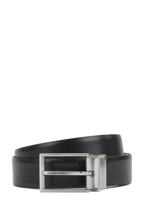 Reversible smooth and structured leather belt with pin and plaque buckles, Black