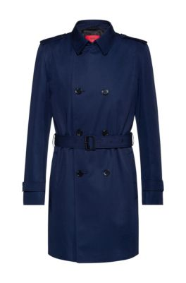 Slim-fit trench coat with water-repellent finish, Dark Blue