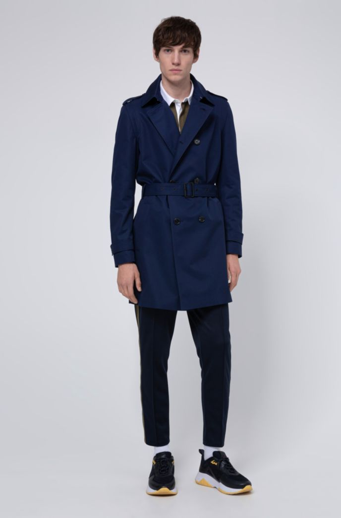 Slim-fit trench coat with water-repellent finish