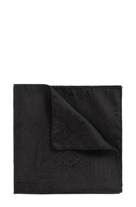 Italian-made pocket square in silk with collection print, Black