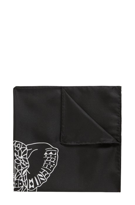 Pocket square in pure silk with collection print, Black
