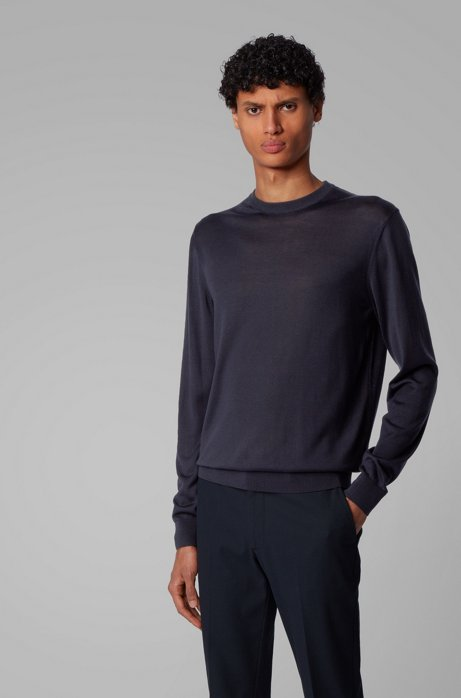 Knitted sweater in pure silk, Dark Blue