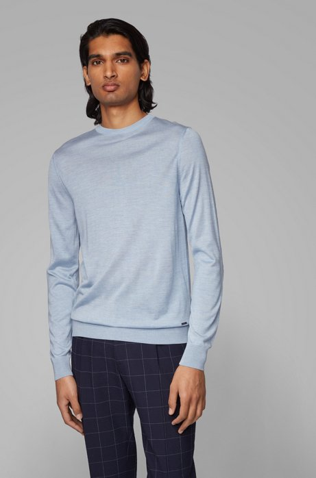 Knitted sweater in pure silk, Light Blue