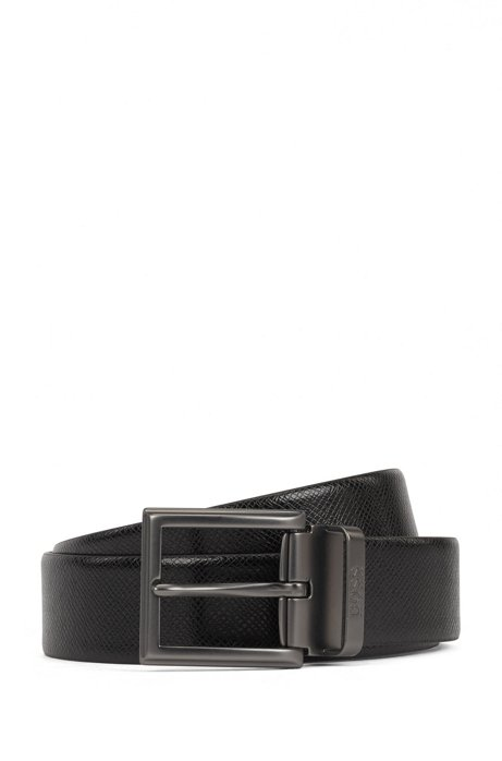 Reversible belt in plain and structured Italian leather, Black