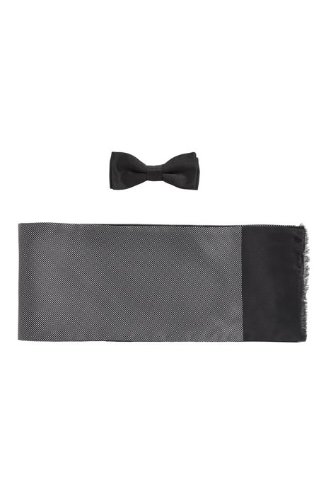 Bow tie and scarf gift set in pure silk, Black